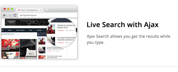 Download Gloria – Responsive eCommerce News Magazine Newspaper WordPress Theme nulled ajaxsearch